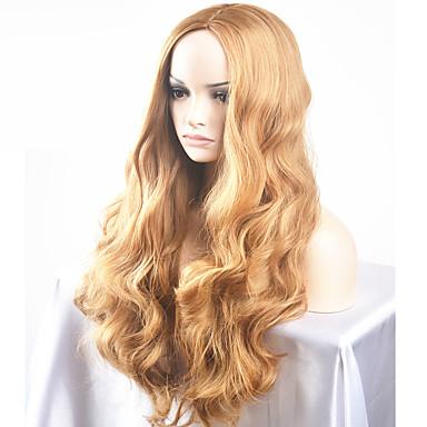 Synteettiset peruukit Luonnolliset aaltoilevat Synteettiset hiukset Keskijakaus Vaaleahiuksisuus Peruukki Naisten Pitkä / Hyvin pitkä Suojuksettomat
