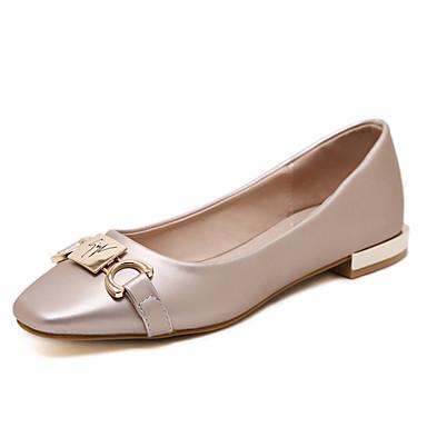 Dame-Lær-Flat hæl-Ballerina-Flate sko-Fritid-Svart Sølv Lysebrun