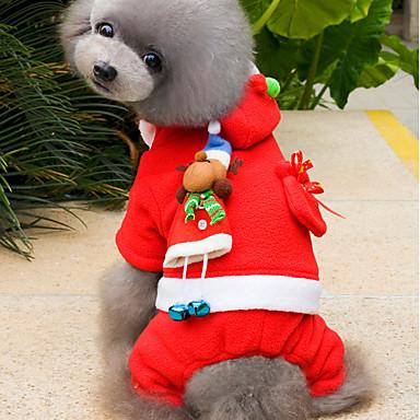 Gato / Cachorro Fantasias / Camisola com Capuz Roupas para Cães Sólido Vermelho Lã Polar Ocasiões Especiais Para animais de estimação Homens / Mulheres Natal