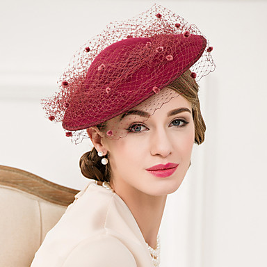 ウール チュール ネット - 魅力的な人 帽子 1 結婚式 パーティー カジュアル かぶと