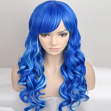 女性 人工毛ウィッグ キャップレス ロング丈 非常に長いです ナチュラルウェーブ ブルー ナチュラルウィッグ コスチュームウィッグ