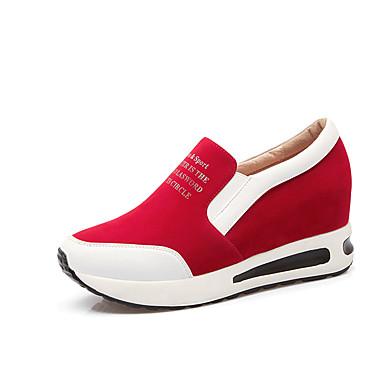 Dames Schoenen Kunstleer Lente Herfst Comfortabel Sneakers Wandelen Hak Voor Sportief Causaal Zwart Rood