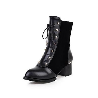 Dame-PU-Tykk hæl-Komfort-Støvler-Kontor og arbeid Formell Fritid-Svart Blå Burgunder