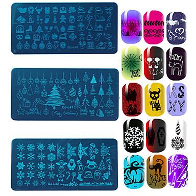 12pcs jule nail art stempling plater utskriftsmønstre