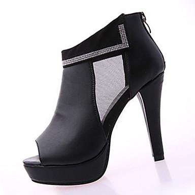 Dame-PU-Stiletthæl-Komfort-Støvler-Fritid-Hvit Svart