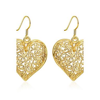 Mulheres Longas Brincos Compridos - Chapeado Dourado Coração Básico Dourado Para Casamento / Festa / Diário
