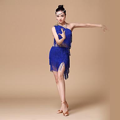 ラテンダンス セット 女性用 性能 ポリエステル スパンコール タッセル 上着 スカート