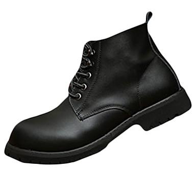 男性-カジュアル-PUレザー-フラットヒール-コンフォートシューズ-ブーツ-ブラック