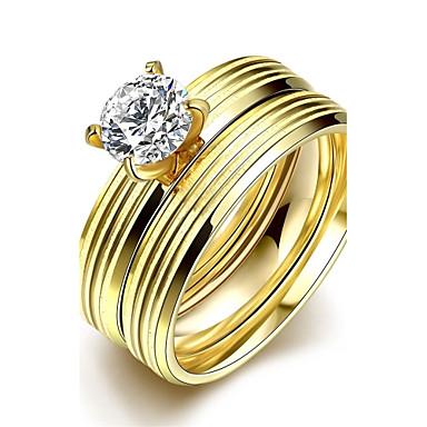 女性 指輪 ファッション ダブルレイヤー ステンレス鋼 ジルコン ジュエリー 結婚式 パーティー 日常 カジュアル スポーツ