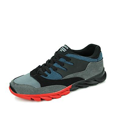 Miehet kengät Tekonahka Kevät Syksy Talvi Comfort Urheilukengät Jouksu Käyttötarkoitus Kausaliteetti Musta Harmaa Sininen
