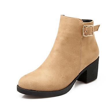 Dame-Semsket lær-Tykk hæl-Komfort-Støvler-Kontor og arbeid Formell Fritid-Svart Rød Mandel