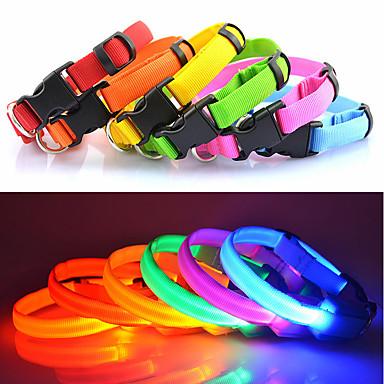 Kissa / Koira Kaulapannat LED valot / Säädettävä / Sisäänvedettävä Yhtenäinen Nylon Sininen / Pinkki / Sateenkaari
