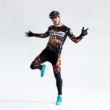 Malciklo Hombre Manga Larga Maillot de Ciclismo con Mallas Británico Bicicleta Medias/Mallas Largas, Almohadilla 3D, Secado rápido,