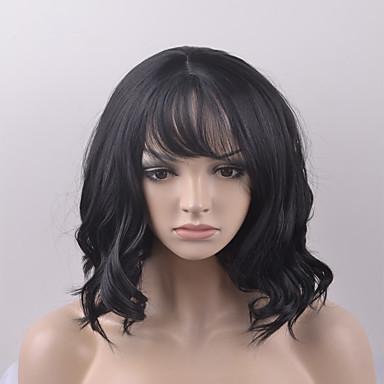 Synteettiset peruukit Luonnolliset aaltoilevat Synteettiset hiukset Musta Peruukki Naisten Lyhyt Luonnollinen peruukki / Halloween