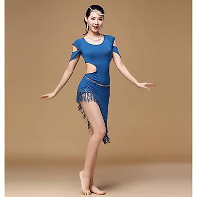 Latin Dans Kjoler Dame Trening Modal 1 Deler Kort Erme Høy Kjole