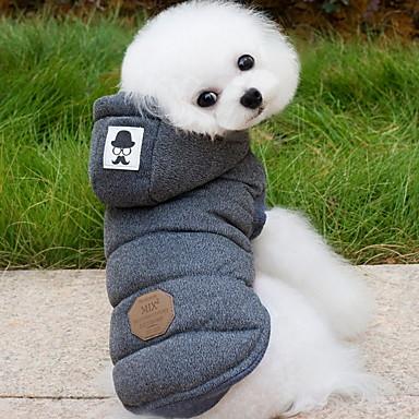 Hund Frakker Hettegensere Hundeklær Ensfarget Grå Blå Bomull Kostume For kjæledyr Herre Dame Hold Varm Mote