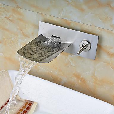 معاصر مثبت على الحائط شلال صمام سيراميكي ثقبان التعامل مع واحد اثنين من الثقوب نيكل ناعم, بالوعة الحمام الحنفية