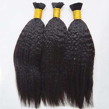 人毛 ブラジリアンヘア 人間の髪編む ヤキ ヘアエクステンション 3個 ブラック