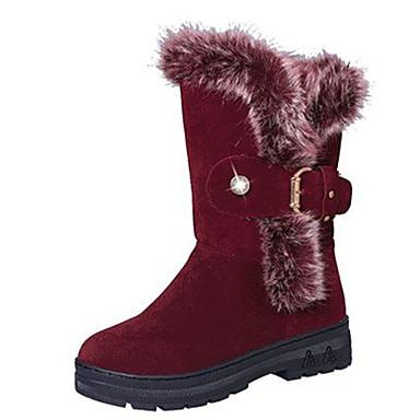Dame-PU-Flat hæl-Komfort-Støvler-Fritid-Svart Rød