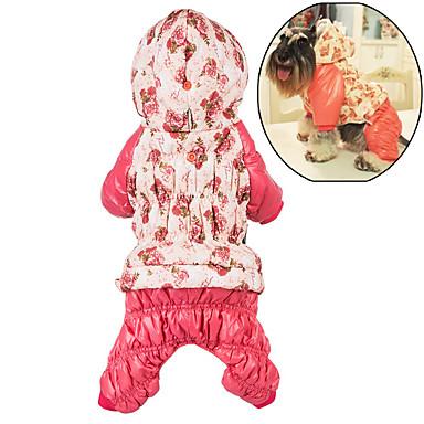 Hund Kapuzenshirts Overall Hundekleidung Niedlich Lässig/Alltäglich warm halten Blumen / Pflanzen Rose Rosa Kostüm Für Haustiere