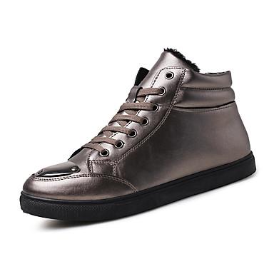 Herre sko Lakklær Kunstlær Vår Høst Vinter Komfort Trendy støvler Treningssko Til Atletisk Avslappet Gull Svart