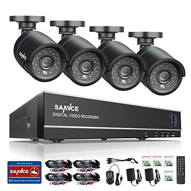 Sannce® 8ch 4 en 1 720p hdmi ahd cctv dvr 4pcs 1.0 mp ir sistema de vigilancia al aire libre de la cámara de seguridad