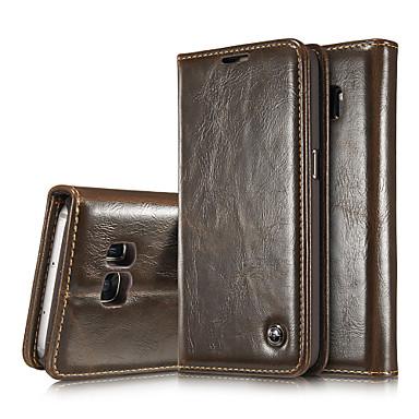 Case Kompatibilitás Samsung Galaxy Samsung Galaxy Note Kártyatartó Pénztárca Állvánnyal Flip Héjtok Tömör szín Valódi bőr mert Note 5