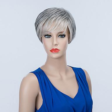 ファッションショートキャップレスは自然なストレート人間オンブル髪をかつら