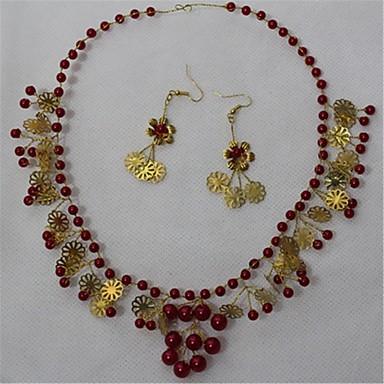 ジュエリー 1×ネックレス / 1×イヤリング(ペア) クリスタル / 人造真珠 結婚式 / パーティー 1セット 女性 レッド ウェディングギフト