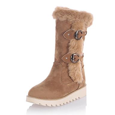 Dame Sko Pels / Fleece Høst / Vinter Snøstøvler / Trendy støvler Støvler Plattform Rund Tå Spenne Svart / Gul / Mandel