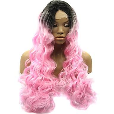 Synteettiset pitsireunan peruukit Runsaat laineet Luonnollinen hiusviiva Vaaleanpunainen Naisten Lace Front Luonnollinen peruukki