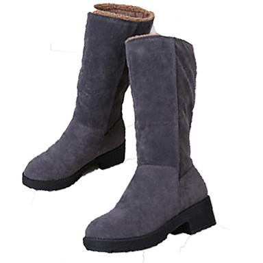 Dame-Semsket lær-Lav hæl-Komfort-Støvler-Friluft Formell Fritid-Svart Grå