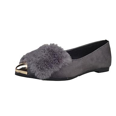 Dame-PU-Flat hæl-Komfort-Flate sko-Fritid-Svart Grå