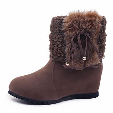 Dame Sko Semsket lær Vinter Komfort Trendy støvler Støvler Flat hæl Rund Tå Snøring til Avslappet Formell Svart Gul Kakifarget