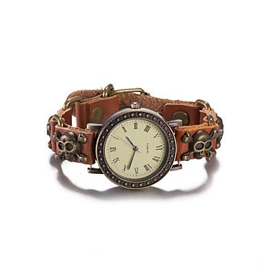 Mulheres Quartzo Relógio de Pulso Bracele Relógio Impermeável Couro Banda Vintage Caveira Boêmio Fashion Rígida Marrom