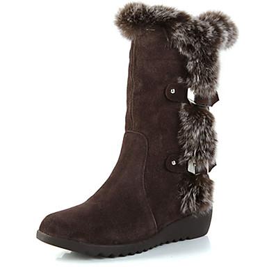 女性用 靴 レザー ファー 冬 コンバットブーツ コンフォートシューズ ブーツ ウォーキング ローヒール ラウンドトウ のために カジュアル ブラック ダークブラウン