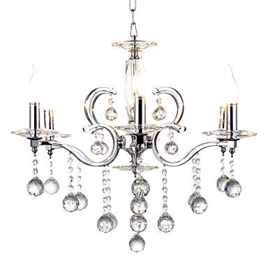QINGMING® 6-luz Lámparas Colgantes Lámpara Torchiere de Pie Cromo Metal Cristal, Los diseñadores 110-120V / 220-240V Bombilla no incluida / E12 / E14