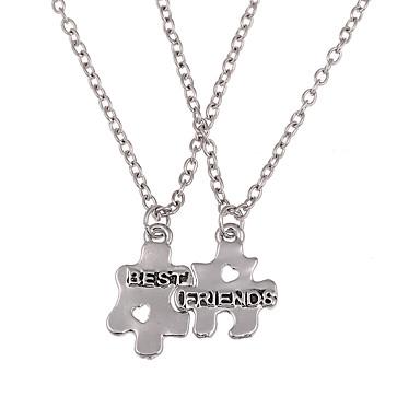 Hombre / Mujer Collar de medallones / Collar - Amigos Personalizado, Geométrico, Diseño Único Plata Gargantillas Joyas Para Boda, Diario, Casual