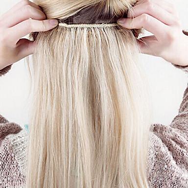 Klipp På Hairextensions med menneskehår Klassisk Hairextensions med menneskehår Ekte hår Dame - Bleik Blond Platinum Blond mørk Vin