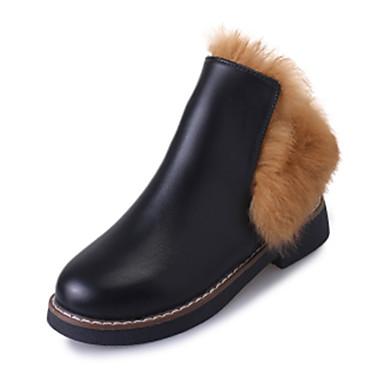 Dame-PU-Lav hæl-Komfort-Støvler-Fritid-Svart Gul