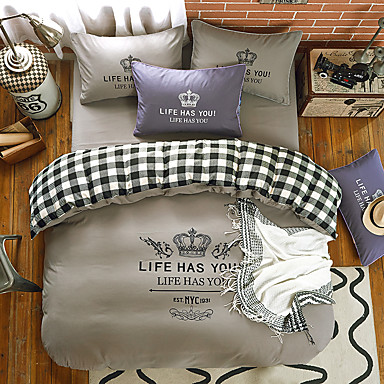 bedtoppingsの4本は、プリントポリマイクロファイバーと女王1掛け布団羽毛布団掛け布団カバー/ 1フラットシート/ 1枕カバーソリッドカラーを設定します