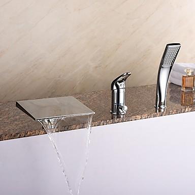 現代風 ローマンバスタブ 滝状吐水タイプ / ハンドシャワーは含まれている with  セラミックバルブ シングルハンドル三穴 for  クロム , 浴槽用水栓