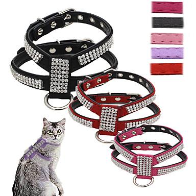 ネコ 犬 ハーネス リード 調整可能 / 引き込み式 ベスト スパンコール ラインストーン モザイク PUレザー ブラック パープル ローズ レッド ピンク