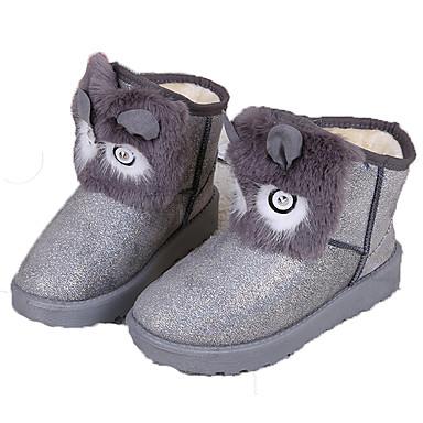 Dame-Pels-Flat hæl-Komfort-Støvler-Friluft Fritid-Svart Rosa Sølv Grå