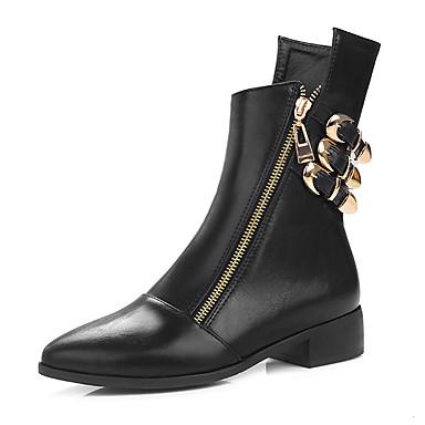 Mulheres Courino Inverno Botas da Moda Botas Salto Baixo Dedo Apontado Presilha / Ziper Preto / Castanho Escuro