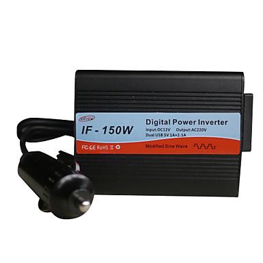 Factory OEM IF-150W Input DC12V Output AC220V Dual USB 5V 1A+2.1A Digital Power Inverter HPIF-150W Input DC12V Output AC220V Dual USB 5V