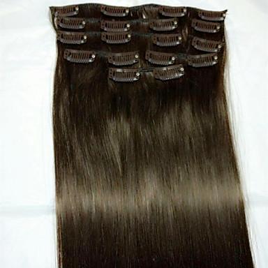ストレート Clip In 人間の髪の拡張機能 8本/パック ダークブラウン ブリーチブロンド 24 インチ