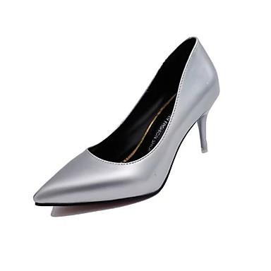 Naisten Kengät Kiiltonahka Syksy Comfort Korkokengät Kävely Stilettikorko Kristallikorko Terävä kärkinen varten Kausaliteetti Kulta Musta