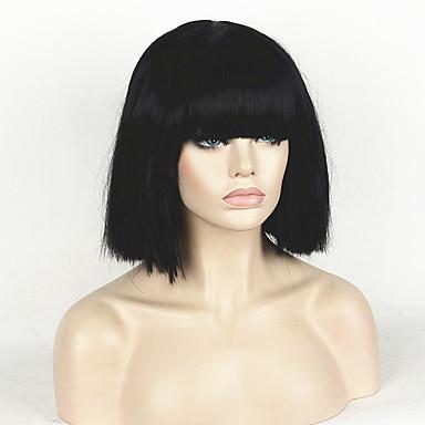 人工毛ウィッグ ストレート ボブスタイル・ヘアカット / ショートボブ / バング付き 合成 かつら 女性用 ショート キャップレス