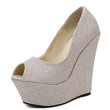 女性用 靴 レザー 春 / 夏 コンフォートシューズ / アイデア ヒール ウォーキング ウエッジヒール オープントゥ / ピープトウ ゴールド / シルバー / 結婚式 / パーティー / パーティー / ウェッジヒール